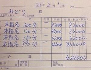 日給40万円のソープ嬢給料明細