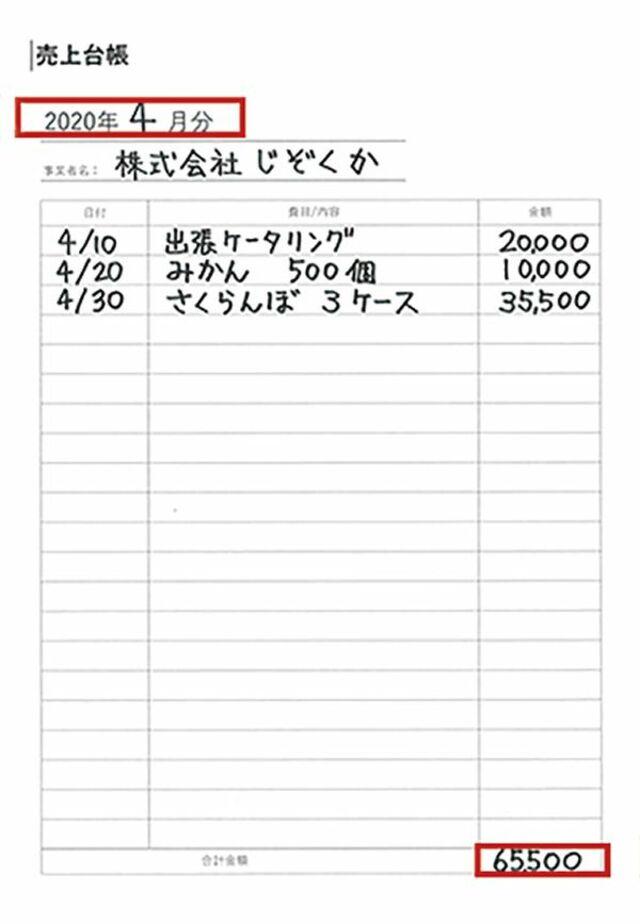 売上帳簿の書き方